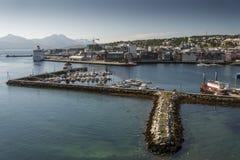 特罗姆瑟小游艇船坞 免版税库存图片
