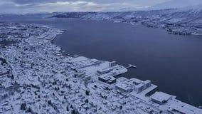 特罗姆瑟挪威北部鸟瞰图  影视素材