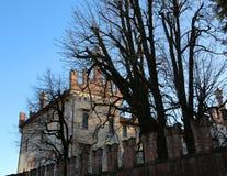 特耶内, VI,意大利- 2017年12月10日:古老城堡叫Cas 图库摄影