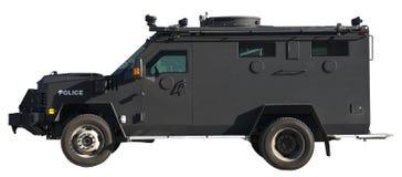 特警队装甲的卡车通信工具查出 免版税库存照片