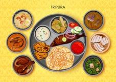 特里普拉邦印度传统烹调和食物膳食thali  皇族释放例证