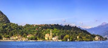 特雷梅佐Tremezzina全景, Como湖区风景 免版税库存照片