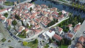 特雷比涅老镇从空气的 免版税库存图片
