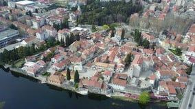 特雷比涅老镇从空气的 库存图片
