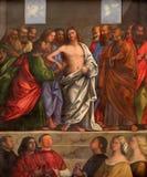 特雷维索-复活的基督塞巴斯蒂亚诺del Piombo 1485 -1547) 圣尼古拉或圣Nicolo教会旁边法坛  免版税库存照片