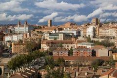 特鲁埃尔省,阿拉贡,西班牙 中世纪城市特鲁埃尔省鸟瞰图  免版税库存照片