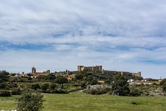 特鲁希略角村庄,卡塞里斯,西班牙看法  库存图片