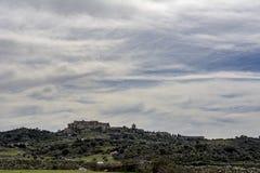 特鲁希略角村庄,卡塞里斯,西班牙看法  免版税库存照片