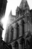 特鲁罗在黑白的大教堂尖顶 库存照片