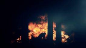 特洛伊燃烧城市和在火焰背景的病毒木马