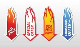 特价优待火焰状箭头标志。 免版税库存照片