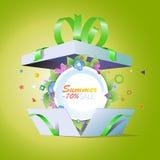 特价优待 夏天折扣 用在白色背景的戴西装饰的季节性sale.green标签 库存照片