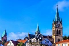 巴特洪堡历史市内贫民区看法,在法兰克福附近,德国 免版税库存照片