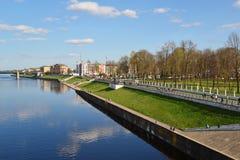 特维尔,俄罗斯-可以07 2017年 看法从上面在米哈伊尔Yaroslavich码头  免版税库存照片