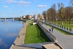 特维尔,俄罗斯-可以07 2017年 看法从上面在米哈伊尔Yaroslavich码头  免版税库存图片