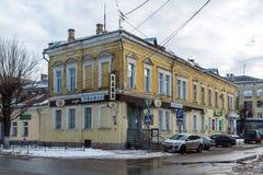 特维尔,俄罗斯- 2月27 2016年 在Sovetskaya街道, 19世纪上的咖啡馆马尼洛夫 库存照片
