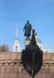 特维尔,俄罗斯- 2月22 :对Afanasy的Nikitin的纪念碑- russ 免版税库存图片