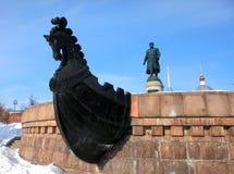 特维尔,俄罗斯- 2月22 :对Afanasy的Nikitin的纪念碑- russ 库存图片