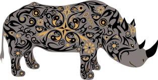 犀牛一个野生非洲动物、一个动物与一个样式从花和线 库存图片