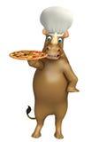 犀牛与薄饼和厨师帽子的漫画人物 免版税库存图片