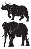 犀牛大象 图库摄影