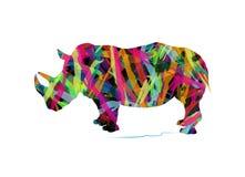 犀牛抽象剪影  免版税库存图片