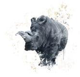 犀牛水彩的画象 免版税库存图片
