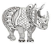 犀牛zentangle传统化了,导航,例证,徒手画的铅笔, 免版税图库摄影