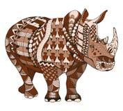 犀牛zentangle传统化了,导航,例证,徒手画的铅笔, 免版税库存图片