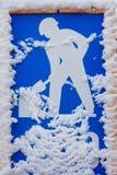 犁符号的雪 免版税库存图片