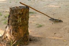 犁耙在树桩说谎 库存照片