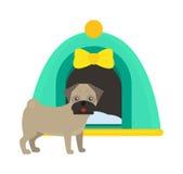 犬小屋狗窝宠物小狗逗人喜爱的设计传染媒介的例证 免版税库存图片