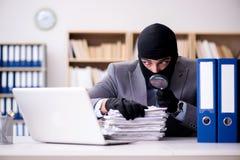 犯罪商人佩带的巴拉克拉法帽在办公室 图库摄影