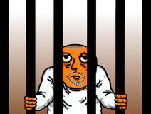 犯罪囚犯被监禁的牢房 库存例证