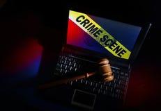犯罪现场个人计算机 免版税图库摄影