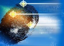 犯罪现场-生物统计的安全扫描器-证明 免版税库存照片