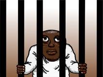 犯罪黑人囚犯被监禁的牢房 库存例证