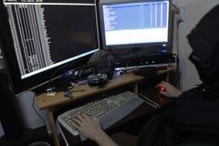 犯罪黑客渗透的网络 免版税库存图片