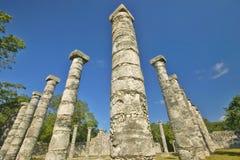 状况的在奇琴伊察,在尤卡坦半岛,墨西哥的玛雅废墟专栏周围的象草的庭院 免版税库存照片