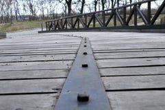 状况良好在彼得罗瓦拉丁堡垒的冬日期间老桥梁从18世纪 库存照片