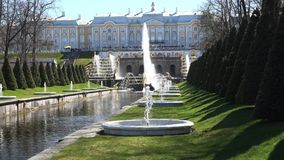 状态博物馆储备Peterhof的大小瀑布 影视素材
