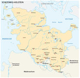 状态石勒苏益格-荷尔斯泰因州的地图与最重要的城市的 免版税库存图片