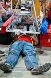 状态青少年的机器人学竞争 库存照片