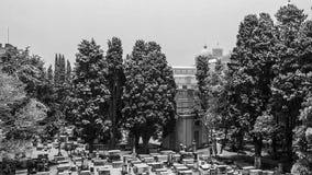 犹太人公墓奇迹, P鸟瞰图和正方形与雪的 库存图片