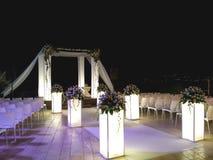 犹太人的婚礼机盖在夜之前 库存照片