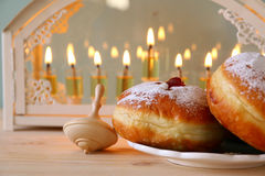犹太假日光明节的选择聚焦图象 库存图片