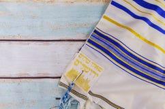 犹太假日Tallit, shabbat祷告宗教标志 库存照片