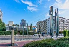 犹太华沙-记忆人行桥踪影  免版税图库摄影