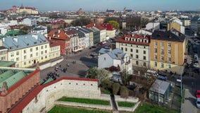 犹太卡齐米日区在克拉科夫,波兰 空中录影 影视素材