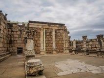 犹太教堂废墟在Capernaum,以色列 库存图片
